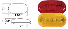 Oblong Red Clearance Or Side Marker Light, 2-Bulb