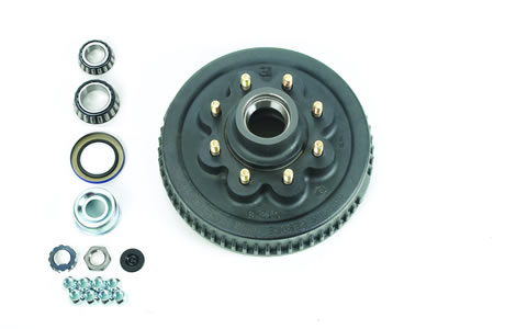 "8-Bolt, Hub & Drum Assembly Complete, Ez Lube, 2-1/4"" I.D. Seal"